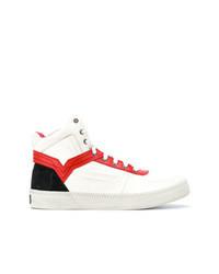 Zapatillas altas en blanco y rojo