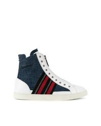 Zapatillas altas en blanco y rojo y azul marino de DSQUARED2