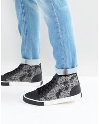 Zapatillas altas en negro y blanco de ASOS DESIGN