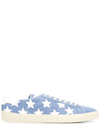 Zapatillas bordadas celestes de Saint Laurent