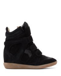 Zapatillas con cuña de ante negras de Isabel Marant