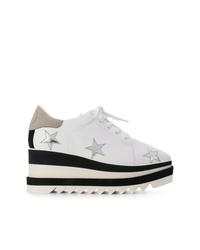 Zapatillas con cuña de cuero en blanco y negro de Stella McCartney
