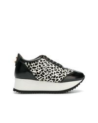 Zapatillas con cuña de cuero en negro y blanco de Alexander Smith