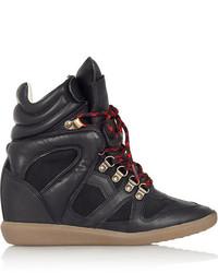 Zapatillas con cuña de cuero negras de Etoile Isabel Marant