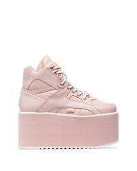 Zapatillas con cuña de cuero rosadas de Buffalo