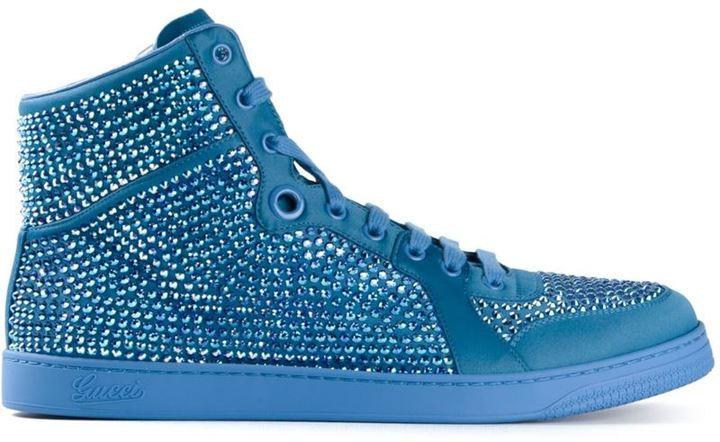 06a893894 Zapatillas de cuero azules de Gucci, €1,082 | farfetch.com ...