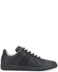 Zapatillas de cuero con estampado geométrico negras de Maison Margiela