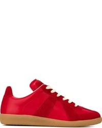 Zapatillas de cuero con estampado geométrico rojas de Maison Margiela