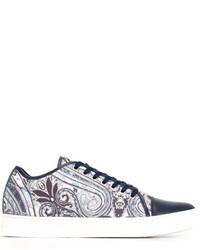 Zapatillas de cuero de paisley azules de Etro