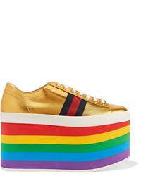 Zapatillas de Cuero Doradas de Gucci