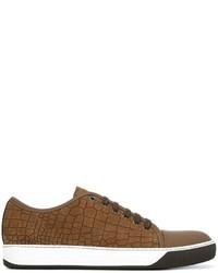 Zapatillas de cuero en marrón oscuro de Lanvin