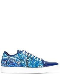 Zapatillas de cuero estampadas azules de Etro