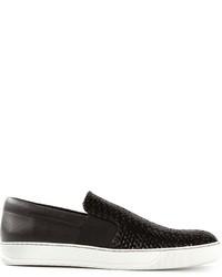 Zapatillas plimsoll de cuero negras