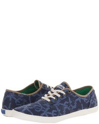 Zapatillas Plimsoll Estampadas en Azul Marino y Blanco