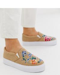 Zapatillas slip-on bordadas marrón claro de ASOS DESIGN