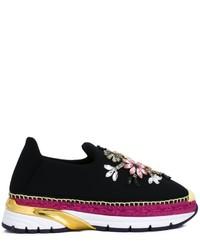 Zapatillas slip-on con adornos negras de Dolce & Gabbana