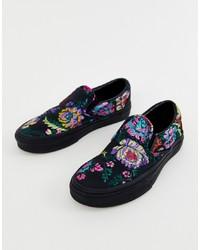 Zapatillas slip-on con print de flores negras de Vans