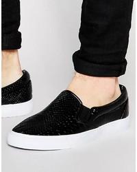Zapatillas slip-on con print de serpiente negras de Asos