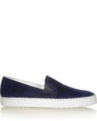 Zapatillas slip-on de ante azul marino de Tod's