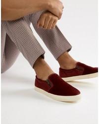 Zapatillas slip-on de ante burdeos de ASOS DESIGN