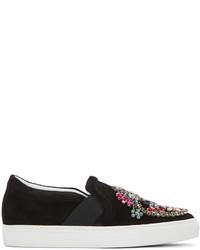 Zapatillas slip-on de ante con adornos negras de Lanvin