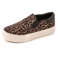 Zapatillas Slip-on de Ante de Leopardo Marrónes de Ash