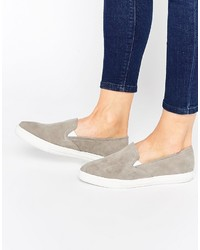 Zapatillas slip-on de ante grises de Warehouse