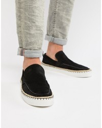 Zapatillas slip-on de ante negras de ASOS DESIGN