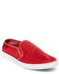 Zapatillas slip-on de ante rojas
