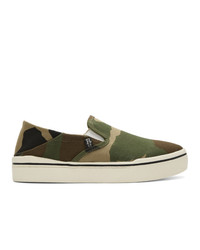 Zapatillas slip-on de camuflaje verde oliva de R13