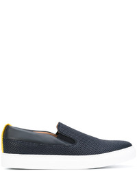 Zapatillas slip-on de cuero azul marino de Emporio Armani