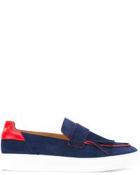 Zapatillas slip-on de cuero azul marino de MSGM