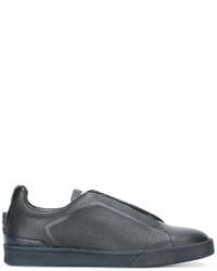 Zapatillas slip-on de cuero azules de Ermenegildo Zegna