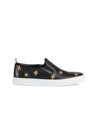 Zapatillas slip-on de cuero bordadas negras de Gucci