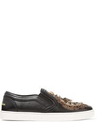 Zapatillas slip-on de cuero con adornos negras de Dolce & Gabbana