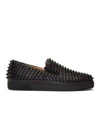 Zapatillas slip-on de cuero con tachuelas negras de Christian Louboutin