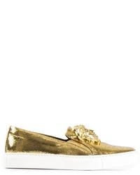Zapatillas Slip-on de Cuero Doradas de Versace