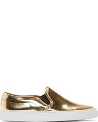 Zapatillas Slip-on de Cuero Doradas
