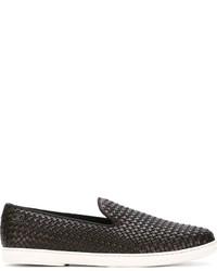 Zapatillas slip-on de cuero en marrón oscuro de Salvatore Ferragamo