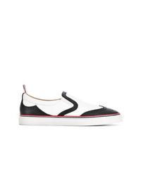Zapatillas slip-on de cuero en negro y blanco de Thom Browne