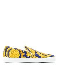 Zapatillas slip-on de cuero estampadas en multicolor de Versace