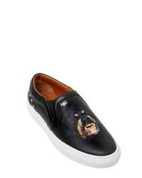 Zapatillas slip-on de cuero estampadas negras