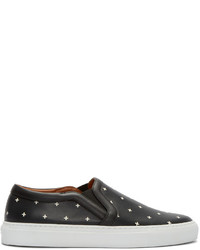 Zapatillas slip-on de cuero estampadas negras de Givenchy