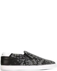 Zapatillas slip-on de cuero estampadas negras de Just Cavalli