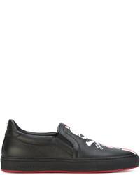 Zapatillas slip-on de cuero estampadas negras de Philipp Plein