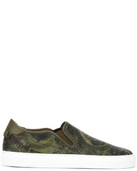 Zapatillas slip-on de cuero estampadas verde oliva de Givenchy