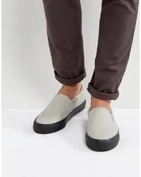 Zapatillas slip-on de cuero grises de Asos