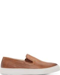 Zapatillas slip-on de cuero marrónes