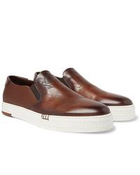 Zapatillas slip-on de cuero marrónes de Berluti