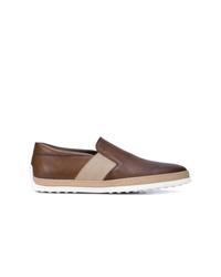 Zapatillas slip-on de cuero marrónes de Tod's
